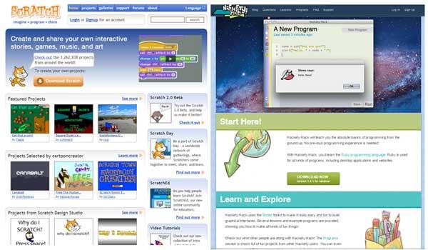 Sites de programação para crianças.
